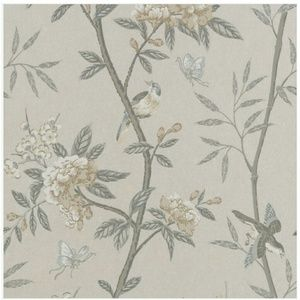 G P & J Baker Peony and Blossom Wallpaper Silver